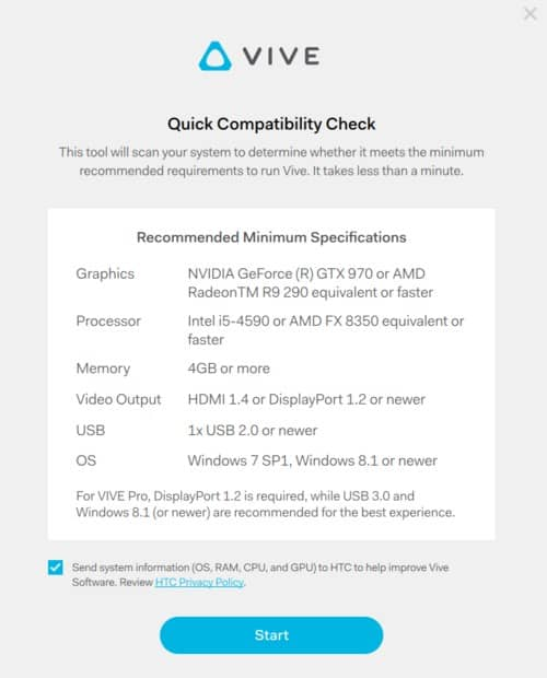 HTV Vive Requirements Check Tool